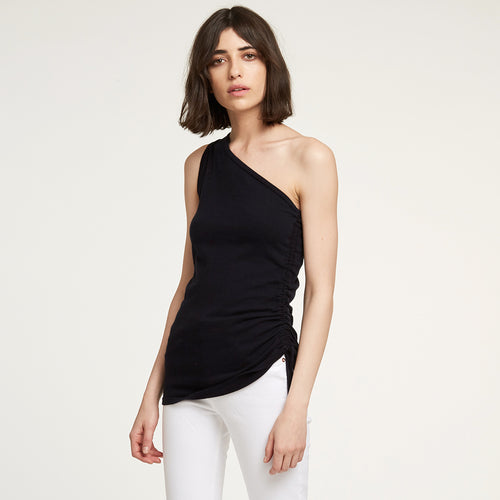 One Shoulder Cinched Top in Black | Autumn Cashmere