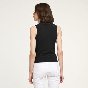 Side Tie Muscle Tee in Black | Autumn Cashmere