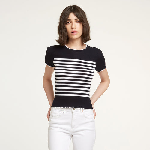 Cotton Rib Breton Stripe Tee in Navy/White