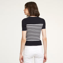 Load image into Gallery viewer, Cotton Rib Breton Stripe Tee in Navy/White
