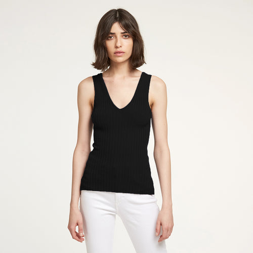Rib Lace Back Tank in Black | Autumn Cashmere