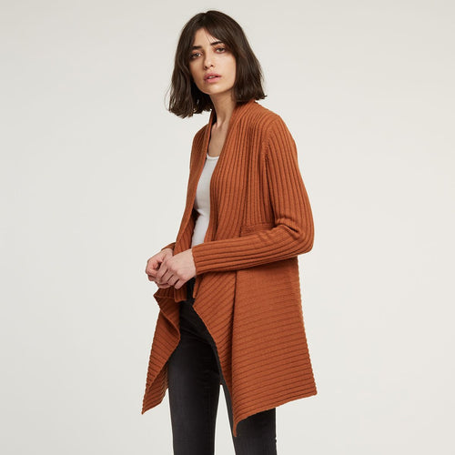 Cashmere Rib Drape Cardigan in Orange | Autumn Cashmere | Women's Clothing & Knitwear