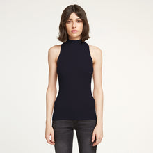 Load image into Gallery viewer, Rib Mock Neck Halter in Navy | Autumn Cashmere