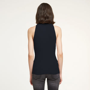 Rib Mock Neck Halter in Navy | Autumn Cashmere