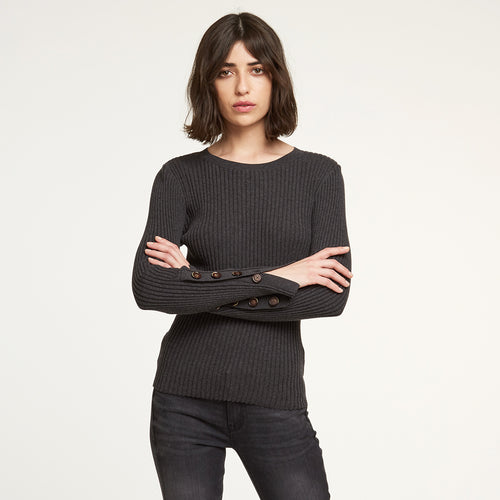 Rib Crew with Button Cuff in Charcoal | Autumn Cashmere