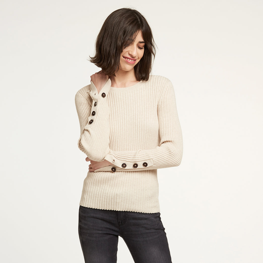 Rib Crew with Button Cuff in Natural