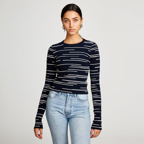 Broken Stripe Rib Crew in Navy