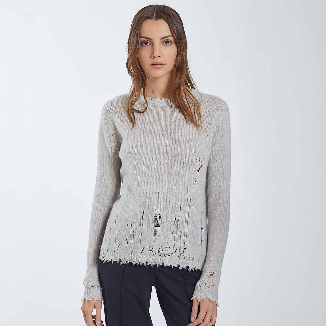 Distressed Cashmere Crew with Lace Back