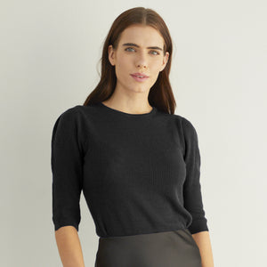 Ribbed Elbow Puff Sleeve Crew in Black