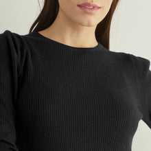 Load image into Gallery viewer, Ribbed Elbow Puff Sleeve Crew in Black