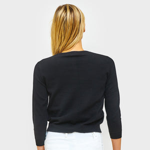 3/4 Sleeve Cotton Cardigan in Black