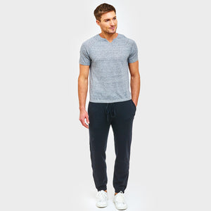 Cashmere Jogger with Leather Stripe in Black | Autumn Cashmere