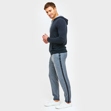 Load image into Gallery viewer, Cashmere Jogger with Leather Stripe in Grey | Autumn Cashmere