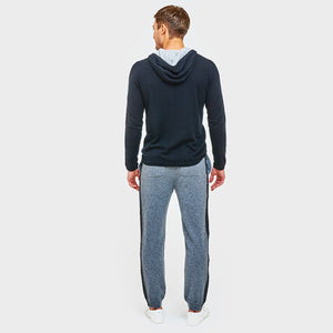 Cashmere Jogger with Leather Stripe in Grey | Autumn Cashmere