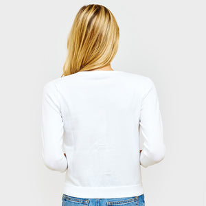 3/4 Sleeve Cotton Cardigan in White