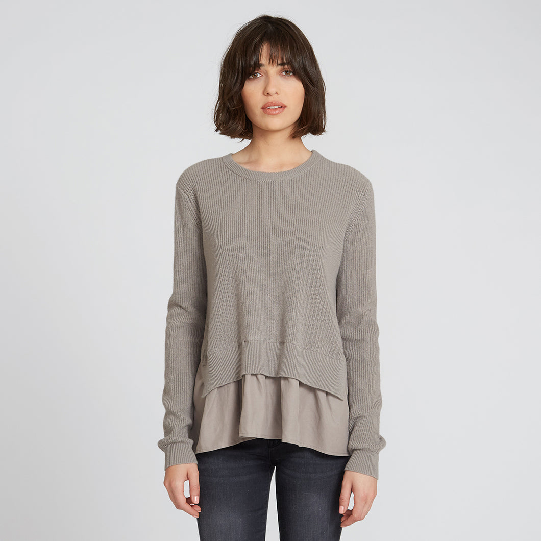 Cashmere Shaker with Shirting in Khaki
