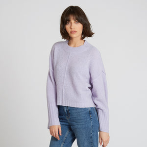 Crop Crew with Exposed Seams in Lavender