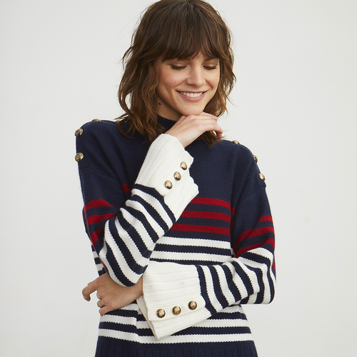 Breton Stripe Button Mock in Navy/Red