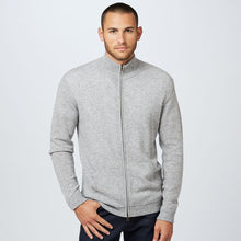 Load image into Gallery viewer, Mock-Neck Full Zip Sweater in Grey | Men's Sweaters Pullovers Light Jackets | Autumn Cashmere