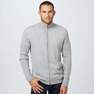 Mock-Neck Full Zip Sweater in Grey | Men's Sweaters Pullovers Light Jackets | Autumn Cashmere