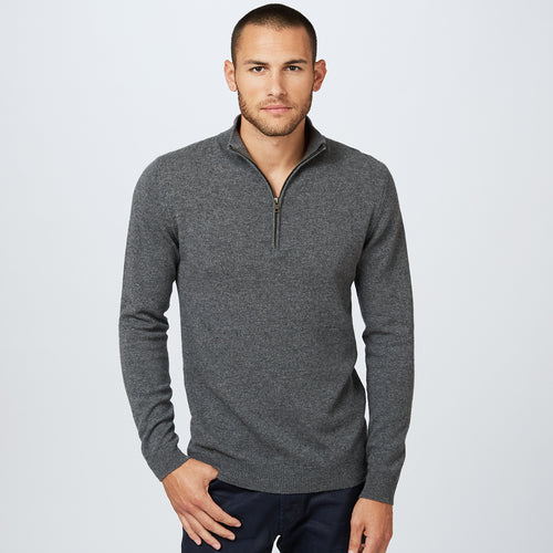 1/2 Zip Mock Neck Pullover in Grey | Autumn Cashmere