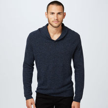 Load image into Gallery viewer, Shawl Pullover Stitched Yoke | Men's Sweaters & Shirts | Navy Blue | Long Sleeves | Autumn Cashmere