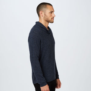 Shawl Pullover Stitched Yoke | Men's Sweaters & Shirts | Navy Blue | Long Sleeves | Autumn Cashmere