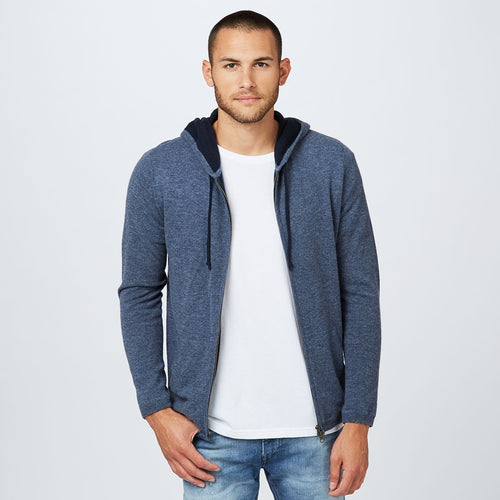 Cashmere Full Zip Hoodie in Dark Blue | Men's Hoodies & Sweaters | Autumn Cashmere