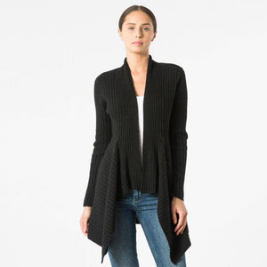 Cashmere Rib Drape Cardigan in Ebony Black | Autumn Cashmere | Women's Knitwear