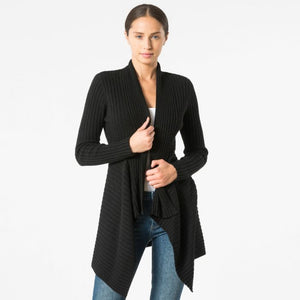 Women's Knitwear | Cashmere Rib Drape Cardigan in Ebony Black | Autumn Cashmere