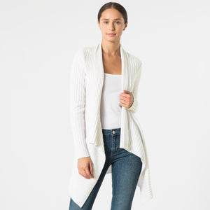 Cashmere Rib Drape Cardigan in Vanilla White by Autumn Cashmere | Women's Clothing & Knitwear