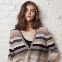 Load image into Gallery viewer, Multi Stripe Ribbed Cardigan in Neutral