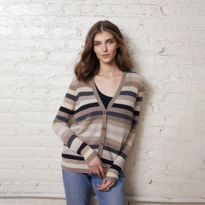 Multi Stripe Ribbed Cardigan in Neutral