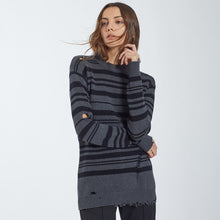 Load image into Gallery viewer, Cotton Distressed Stripe Crew