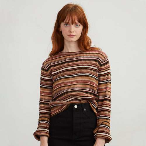 Cotton Boxy Multi Stripe Rib Pullover | Cotton Sweater | Autumn Cashmere