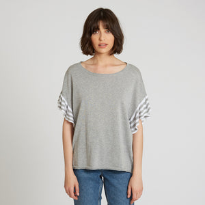 Cotton Ruffle Tee with Stripes in Sweatshirt