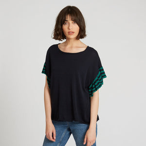 Relaxed Stripe Ruffle Tee in Navy | Autumn Cashmere
