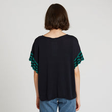 Load image into Gallery viewer, Relaxed Stripe Ruffle Tee in Navy | Autumn Cashmere