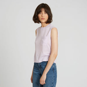 Muscle Tee with Pocket in Lilac | Autumn Cashmere
