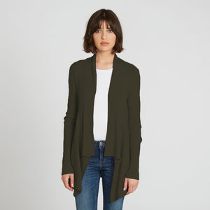 Autumn Cashmere. Cotton Rib Drape in Army Green. Dark Green Cardigan. 100% Cotton.