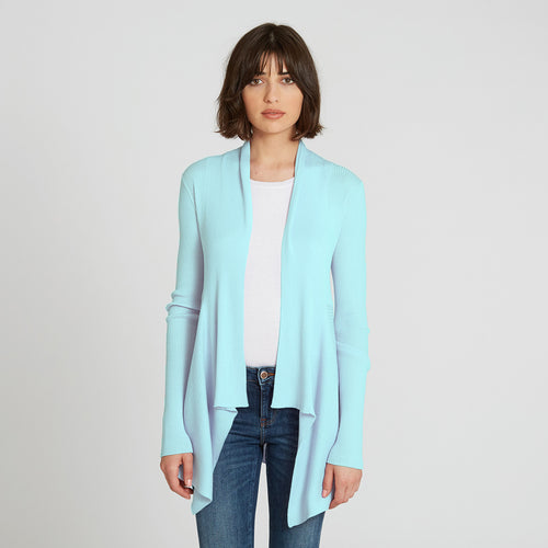 Cotton Rib Drape in Light Cyan Blue by Autumn Cashmere | Women's Clothing & Knitwear