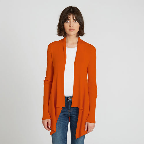 Cotton Rib Drape Cardigan in Orange by Autumn Cashmere | Women's Clothing & Knitwear