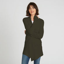 Load image into Gallery viewer, Autumn Cashmere. Cotton Rib Drape in Army Green. Dark Green Cardigan. 100% Cotton.