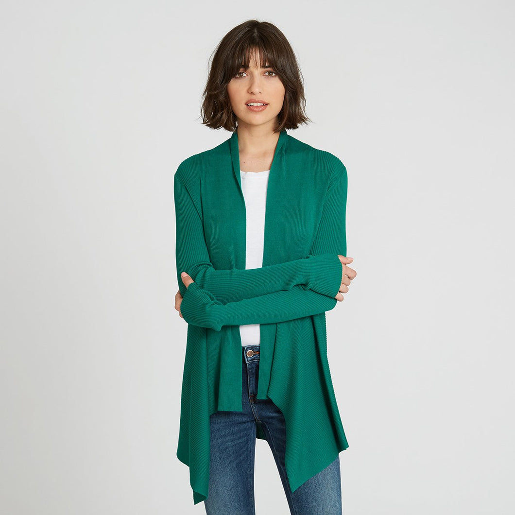 Cotton Rib Drape Cardigan in Green by Autumn Cashmere | Women's Clothing & Knitwear
