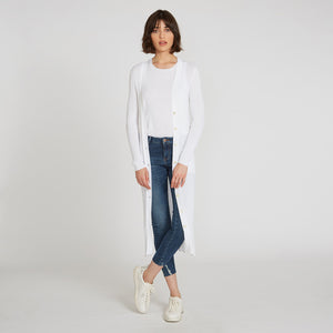 Cotton Rib Maxi Cardigan in Bleach White
