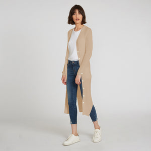 Longline Cotton Rib Maxi Cardigan in Beige by Autumn Cashmere | Women's Clothing & Knitwear