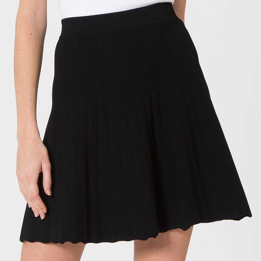 Flare Tuck Stitch Skirt in Black | Viscose Blend | Women's Dresses & Skirts | Autumn Cashmere