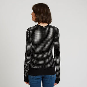 2-Tone Pointelle Cardigan by Autumn Cashmere. Polka Dot Cardigan Sweaters. Italian Viscose Blend.