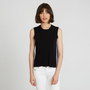 Muscle Tee with Racing Stripes in Black | Autumn Cashmere