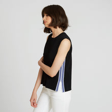 Load image into Gallery viewer, Muscle Tee with Racing Stripes in Black | Autumn Cashmere